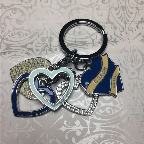 Authentic Coach multiple heart key chain